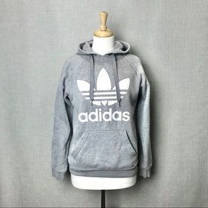 ADIDAS Gray with White Trefoil Hoodie Size S